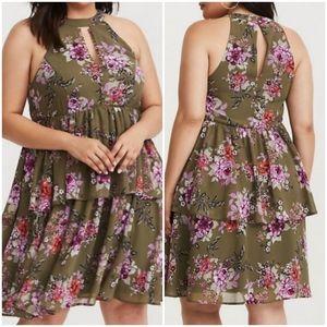 Torrid Olive Floral Chiffon Mini Dress